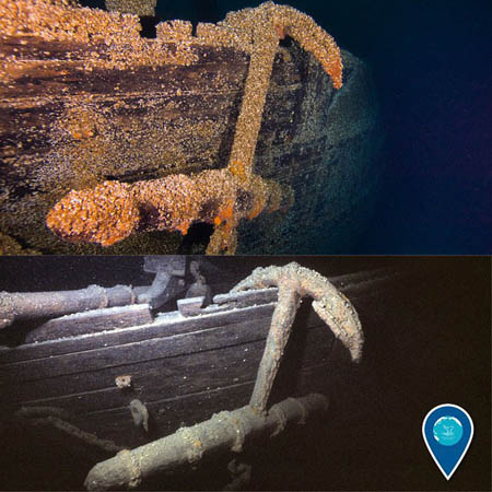photo of before and after of shipwreck with invasive mussels on them