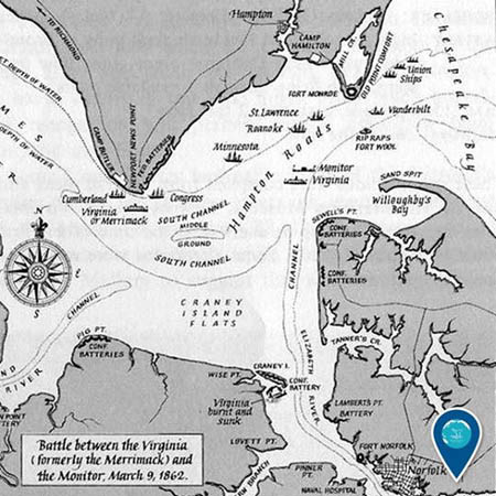 map of battle of hampton roads