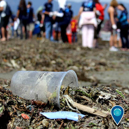 photo of a plasic cup on the beach