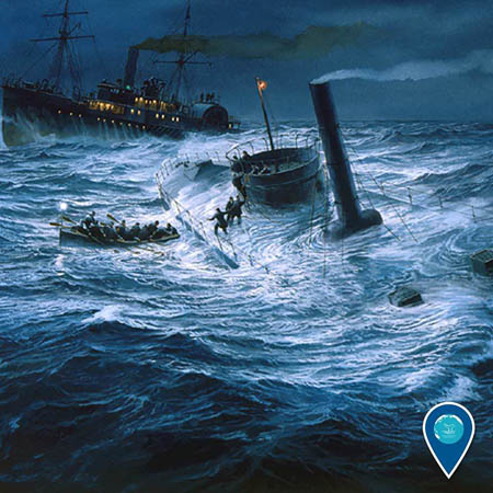 illustration of the USS Monitor sinking