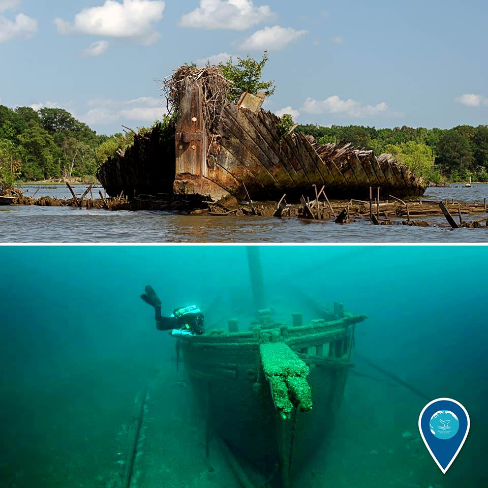 photo of a shipwreck out of the water in mallows bay and a photo of a diver and a shipwreck in the great lakes