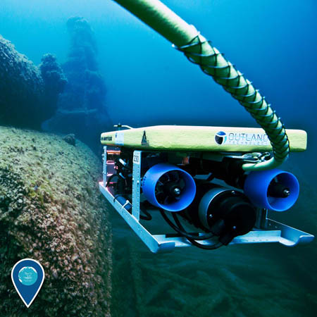 photo of an rov under water