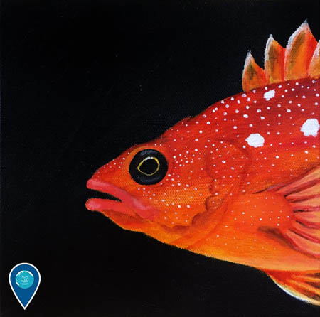 photo of a painting of a bright orange fish
