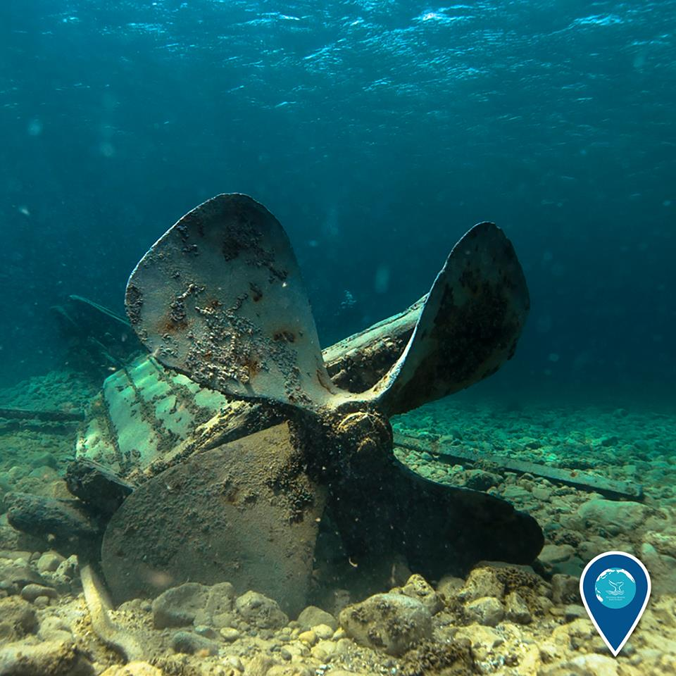 photo of a propeller of a shipwreck