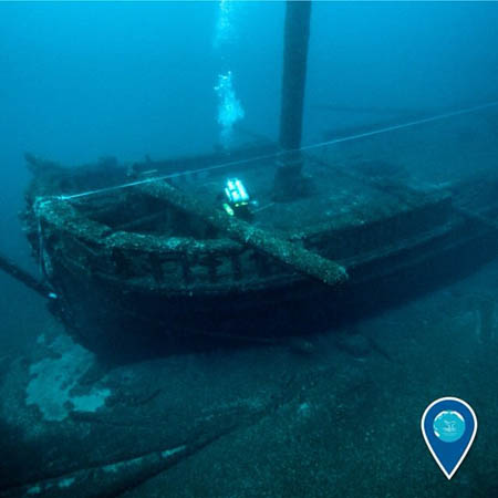 shipwreck of two-masted wooden schooner DEFIANCE in the Thunder Bay National Marine Sanctuary