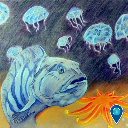 photo of a drawing of fish and jellies under water