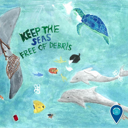 drawing of marine life caught in debris