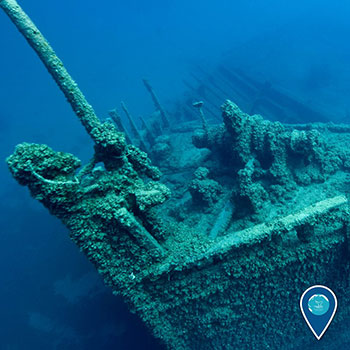 photo of the bow of a shipwreck