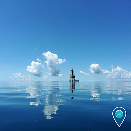 photo of a buoy in clear blue water