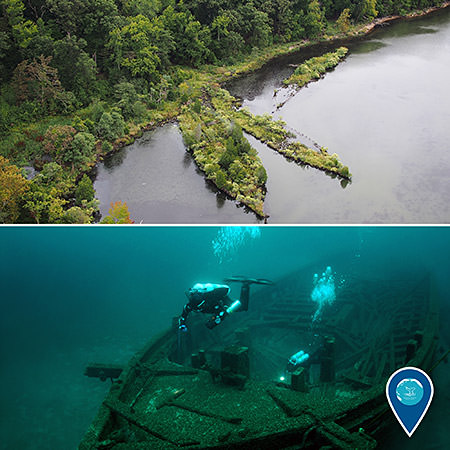 top: aerial view of mallows bay; bottom: diver examining shipwreck