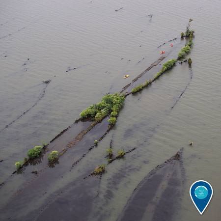 aerial view of mallow bay shipwreck
