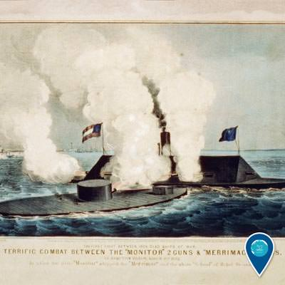 painting of the battle of the uss monitor and the css virginia
