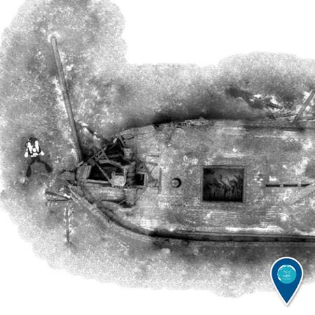 photomosaic of a shipwreck in lake michigan
