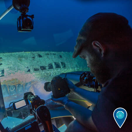 Joe Hoyt examines the wreck of the German U-boat U-576 from inside a two-person submersible