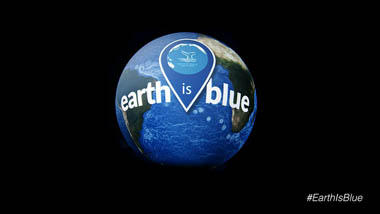 earth is blue logo overlayed on the earth