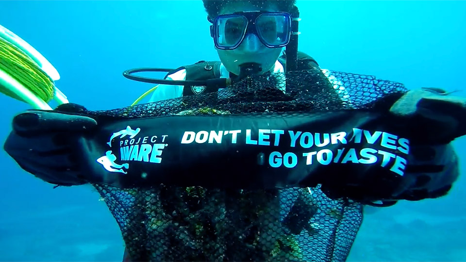 photo of diver holding up a sign