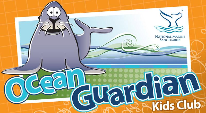 Ocean Guardian kids club logo with an illustration of sanctuary sam