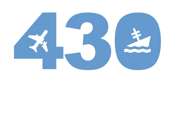 illustration of the number 430 with a airplane and shipwreck