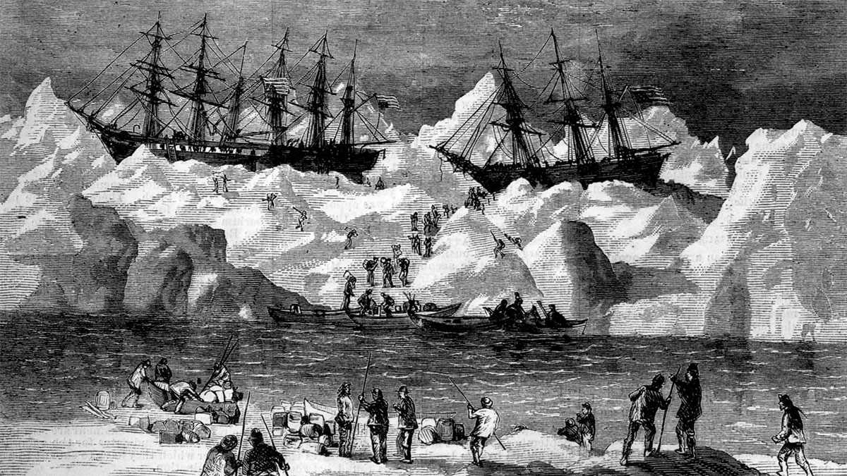 illustration of abandoned whalers in the arctic