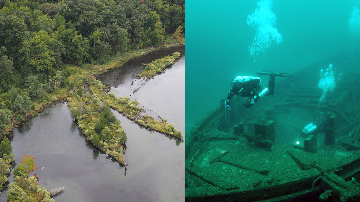 split photo of mallows bay shipwrecks and wisconsin shipwreck and diver