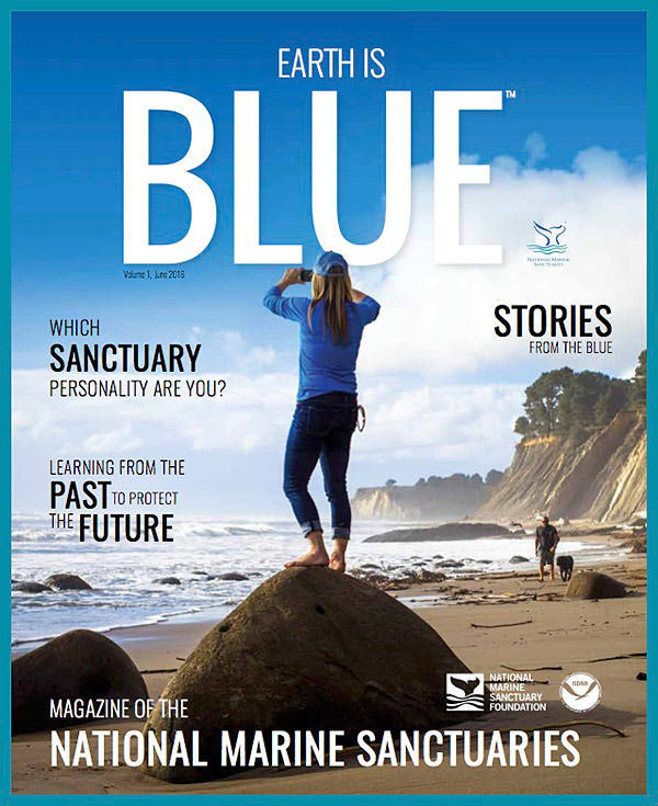 earth is blue magazine volume 1 cover - women on the beach taking a picture of the ocean