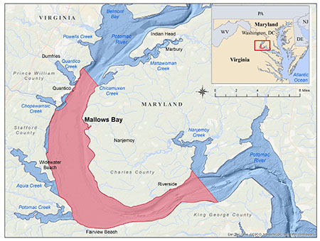 Map of proposed boundaries for Mallows Bay - Potomac River