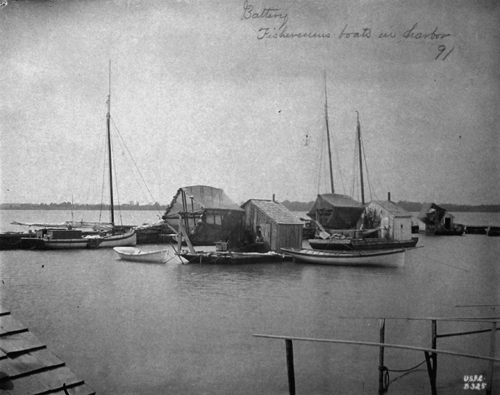 Battery fishermens boats in harbor, 1891.