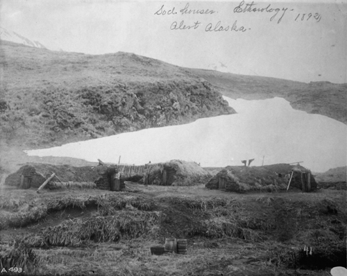 Sod houses in Alaska
