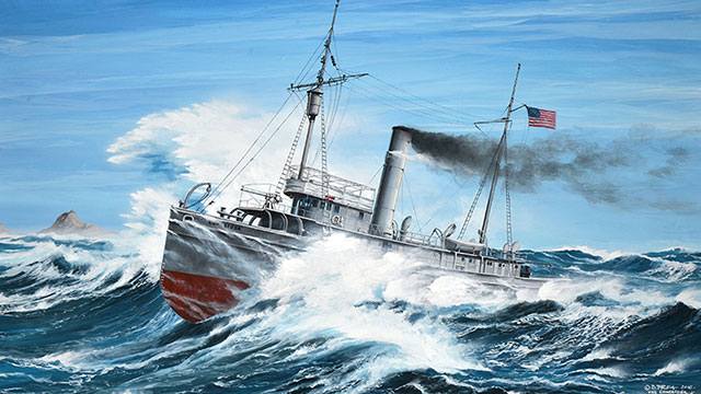 painting of the USS Conestoga in rough waters