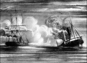 This 19th Century print depicts the sinking of USS Hatteras by CSS Alabama, off Galveston, Texas, January 11, 1863.