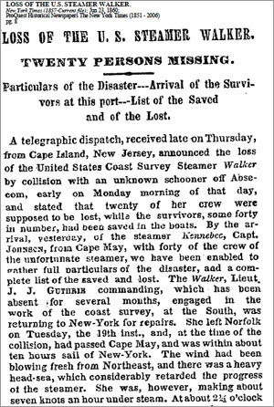 Report of the loss of the U.S. steamer Walker in the New York Times, June 23, 1860.