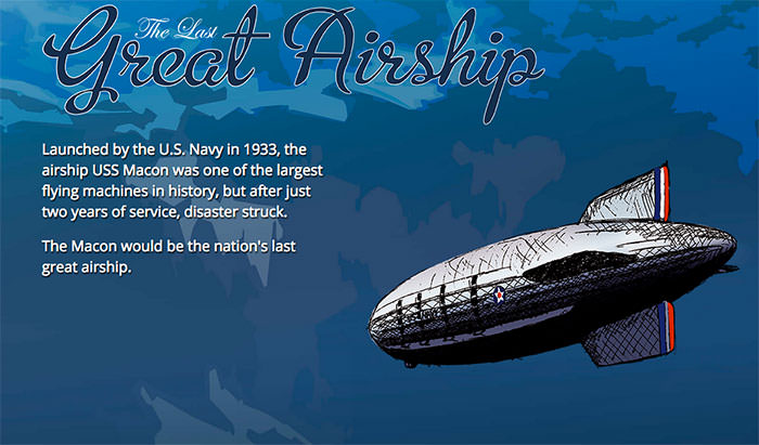 illustration of the uss macon airship