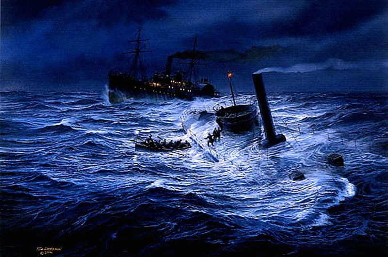 painting of the uss monitor sinking