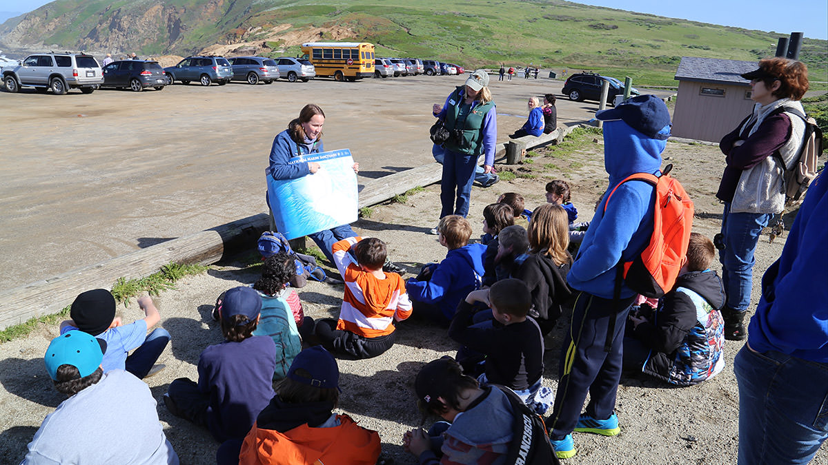 Jenny Stock teaching 4th graders  on an Every Kid in a Park field tripat Bodega Head