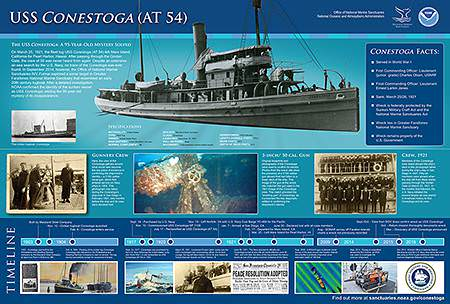 poster with image of the uss conestoga and the ships time line