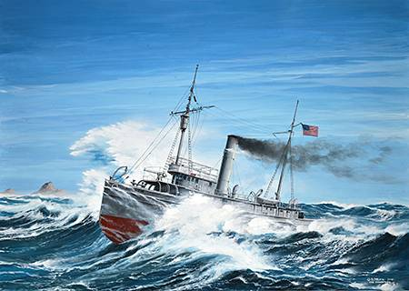 painting of the uss conestoga (at-54) at sea