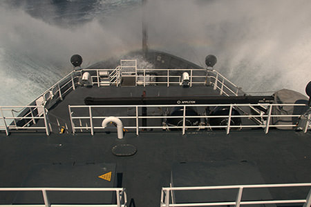 photo of a view on a ship with waves
