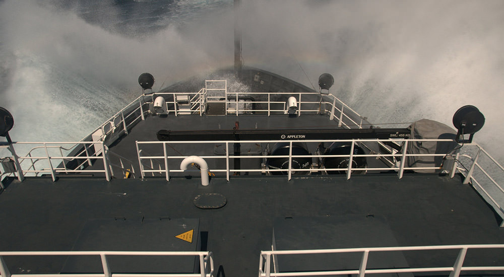 photo of view on ship with waves