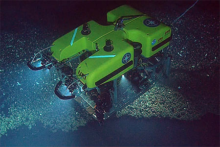 photo of an rov underwater