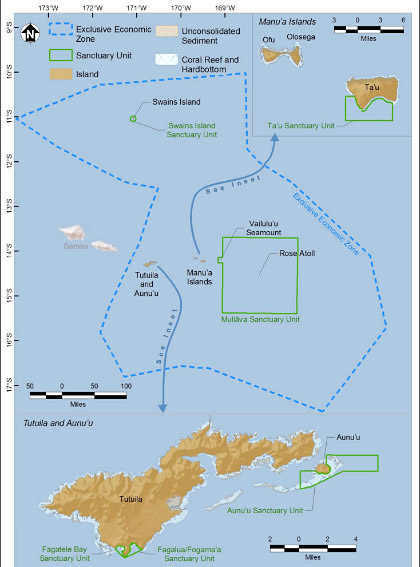 National Marine Sanctuary of American Samoa map