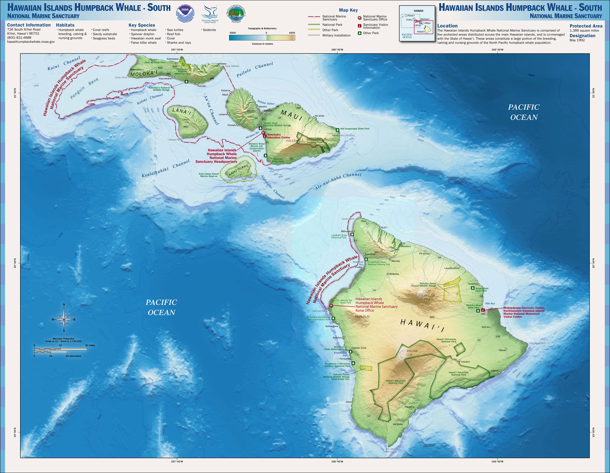 Maps National Marine Sanctuaries - Hawaii islands on a map with us