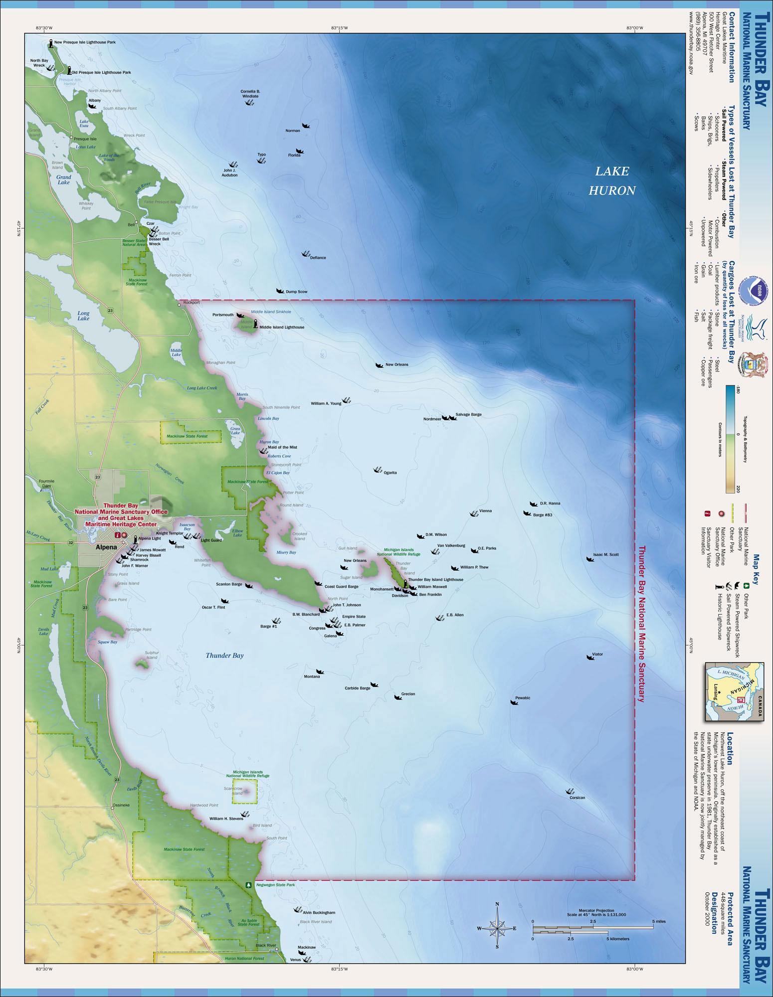 Maps national marine sanctuaries thunder bay map publicscrutiny Images