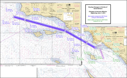 NOAA chart showing the Santa Barbara Channel Traffic Separation Scheme adjustments.