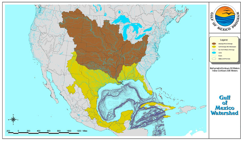 Figure 6.	Gulf of Mexico watershed. Source: Environmental Protection Agency