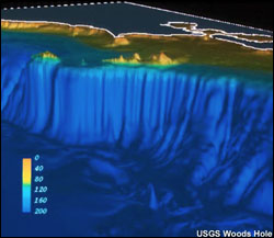 Computer imagery shows the topography of the seafloor of Gulf of the Farallones National Marine Sanctuary and the steep drop-off of the continental slope west of the Farallon Islands. (Image: USGS Woods Hole)