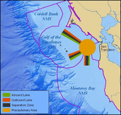 Figure 18. Three major West Coast shipping lanes (seen in light green and dark orange) converge in the Gulf of the Farallones sanctuary within the Precautionary Area (light orange). (Map: T. Reed, GFNMS)