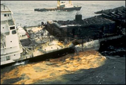 Figure 20. In 1984 the Tanker Vessel Puerto Rican exploded and released 5.4 million gallons of oil into the Gulf of the Farallones sanctuary. (Photo: GFNMS)
