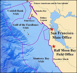 Figure 4. The Gulf of the Farallones is one of three contiguous national marine sanctuaries located along California's northern and central coast. The Gulf of the Farallones sanctuary is responsible for administration and management of the northern area of the Monterey Bay sanctuary extending from the San Mateo/Santa Cruz county line northward to the existing boundary between the two sanctuaries. (Map: T. Reed, GFNMS)