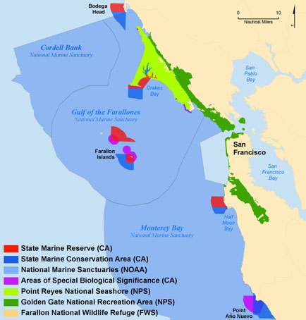 Figure 46. State and federal marine protected areas (MPA) and management zones within the Gulf of the Farallones region. State designated MPAs on the north-central California coast went into effect on May 1 2010. These new state MPAs will restrict either all or some extraction of fish and other natural resources, and these three areas (not shown on map), which are no-access zones. (Map: T. Reed, GFNMS)