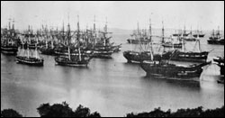 Figure 6. Ships in Yerba Buena Cove, San Francisco during the gold rush 1849 � 1850. (Image: Library of Congress)
